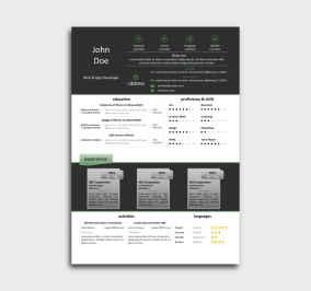 class cv template - resume -  without profile picture