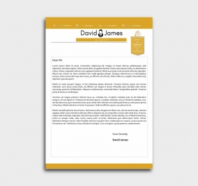 finest cv template - cover letter - yellow