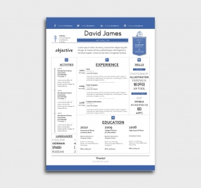 finest cv template - resume - without profile picture - blue