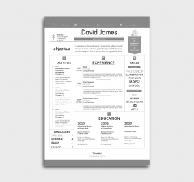 finest cv template - resume - without profile picture - gray