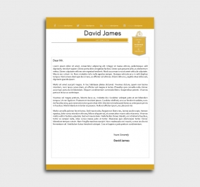 finest cv template - cover letter - without profile picture - yellow
