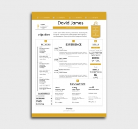 finest cv template - resume - without profile picture - yellow