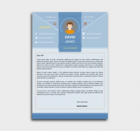 impress cv template - cover letter - azure