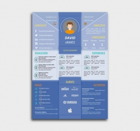 impress cv template - resume - blue