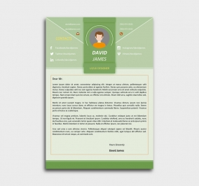 impress cv template - cover letter - green