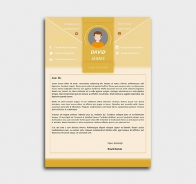 impress cv template - cover letter - yellow