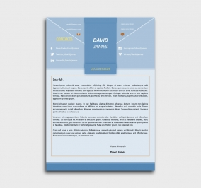 impress cv template - cover letter - without profile picture - azure