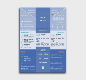 impress cv template - resume - without profile picture - blue