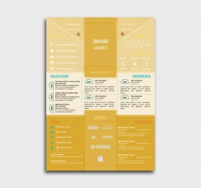 impress cv template - resume - without profile picture - yellow