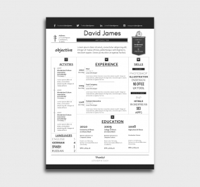 finest cv template - resume - without profile picture