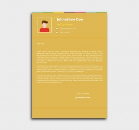 instant cv template - cover letter - yellow