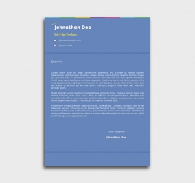 instant cv template - cover letter - without profile picture - blue