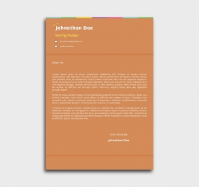 instant cv template - cover letter - without profile picture - orange