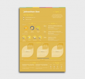 instant cv template - cover letter - without profile picture - yellow
