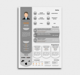 exceptional  cv template - resume - gray
