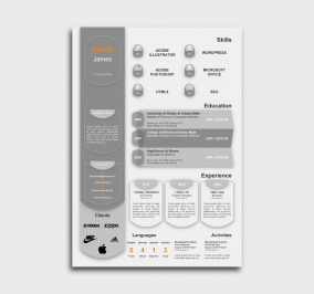 exceptional  cv template - resume - without profile picture - gray