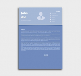 superior cv template - cover letter - blue