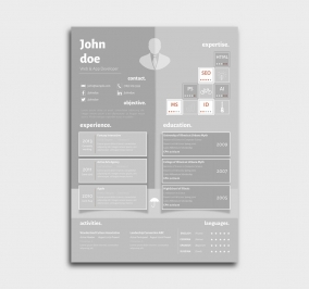superior cv template - resume - azure - gray