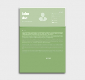 superior cv template - cover letter - green