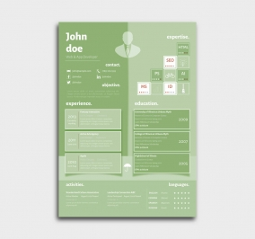 superior cv template - resume - azure - green