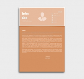 superior cv template - cover letter - orange