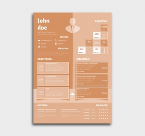 superior cv template - resume - azure - orange