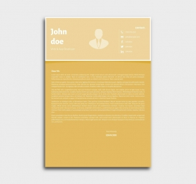 superior cv template - cover letter - yellow