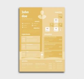 superior cv template - resume - yellow