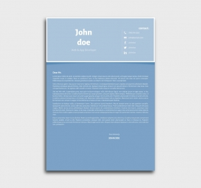 superior cv template - cover letter- without profile picture - azure