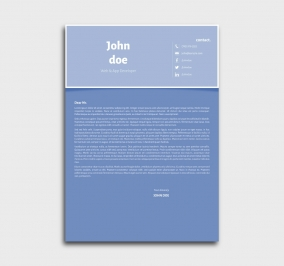 superior cv template - cover letter- without profile picture - blue