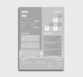 superior cv template - resume - without profile picture - gray