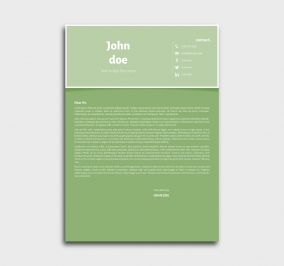 superior cv template - cover letter- without profile picture - green