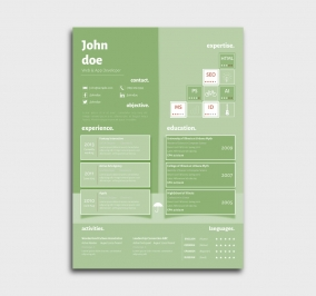 superior cv template - resume - without profile picture - green