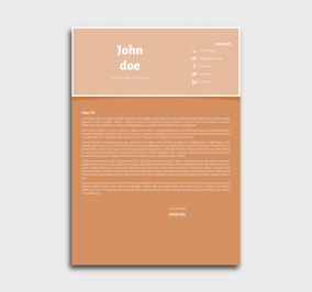 superior cv template - cover letter- without profile picture - orange