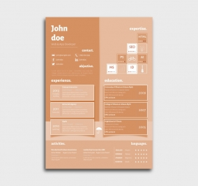 superior cv template - resume - without profile picture - orange