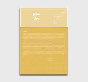 superior cv template - cover letter- without profile picture - yellow
