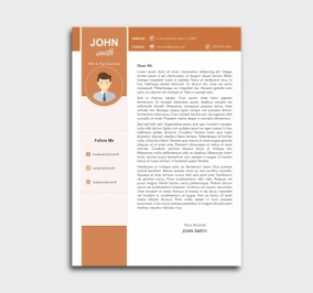 pro cv template - cover letter - orange