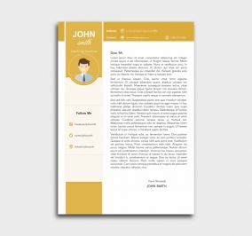 pro cv template - cover letter - yellow