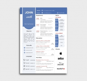 superior cv template - resume - without profile picture - blue