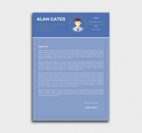 premium cv template - cover letter - blue