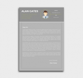 premium cv template - cover letter - gray