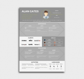 premium cv template - resume - gray