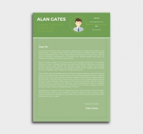 premium cv template - cover letter - green
