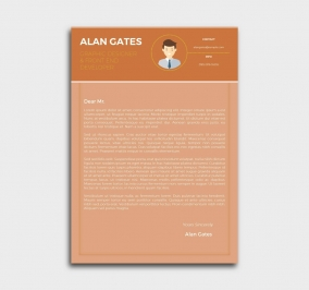 premium cv template - cover letter - orange