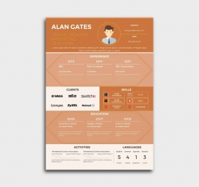 premium cv template - resume - orange