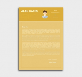premium cv template - cover letter - yellow