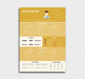 premium cv template - resume - yellow