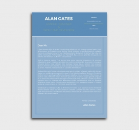 premium cv template - cover letter- without profile picture - azure