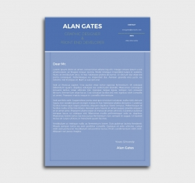 premium cv template - cover letter- without profile picture - blue