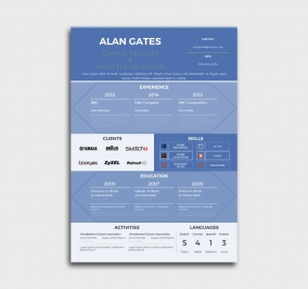 premium cv template - resume - without profile picture - blue